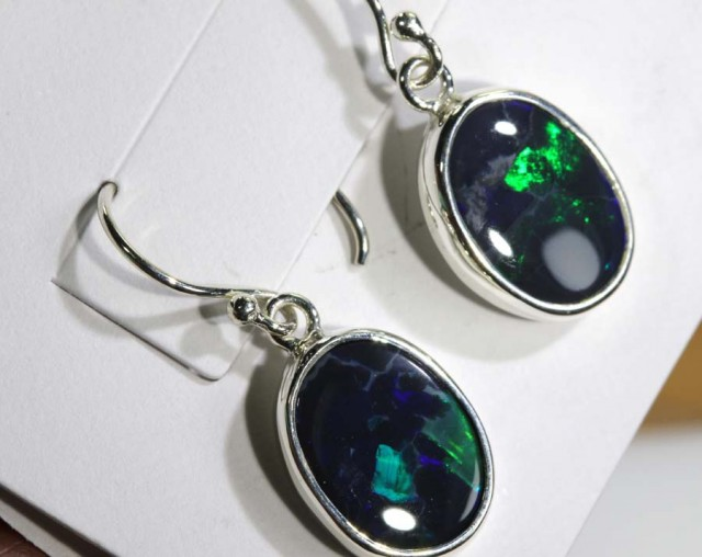 13.15 CTS BLACK OPAL SILVER  EARRINGS OF-1359