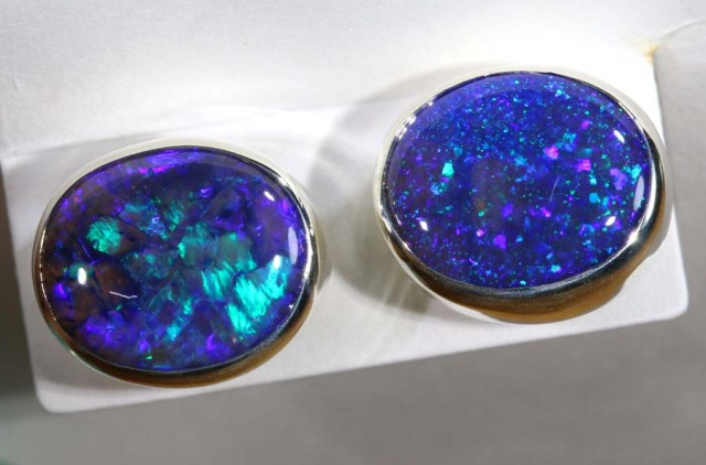 12.40 CTS BLACK OPAL SILVER  EARRINGS OF-1355