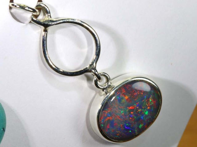 9.95 CTS SILVER BLACK OPAL PENDANT INV-280