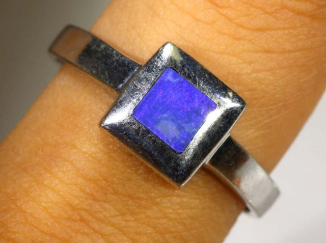 18.75 CTS DOUBLET OPAL SILVER RING OF-1363