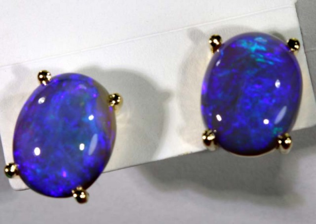 10.70 CTS BLACK OPAL EARRINGS INV-283