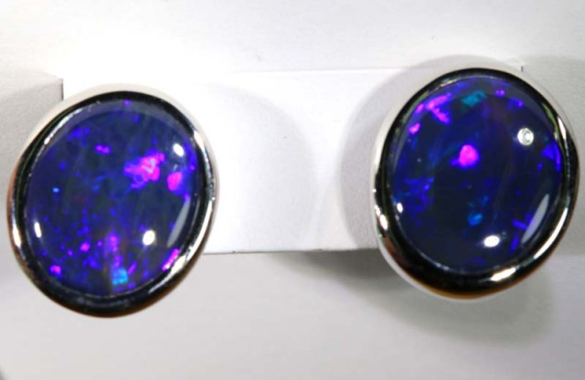 13.00 CTS SOLID BLACK OPAL-SILVER EARRINGS INV-284