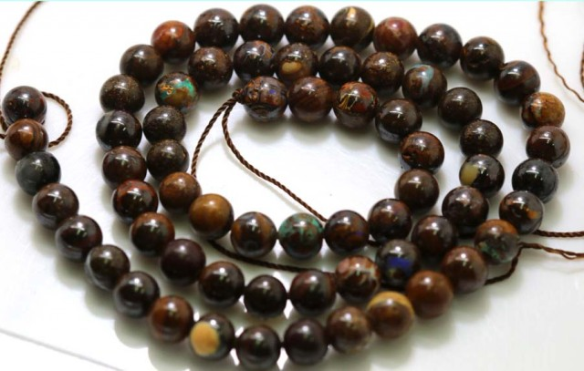 114.05 CTS BOULDER OPAL BEADS STRANDS TBO-4809
