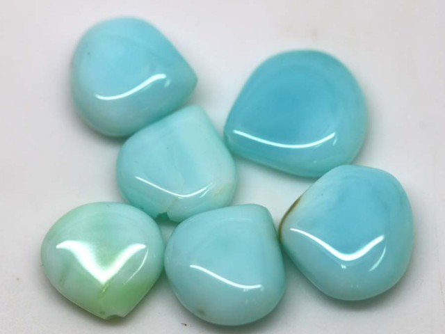 24.55 CTS PERUVIAN BLUE OPAL BEADS DRILLED PARCEL (6PCS)  LO-3874