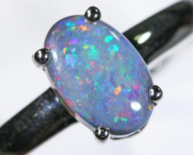 Black opal 18k White Gold Ring size7.5 BU1500