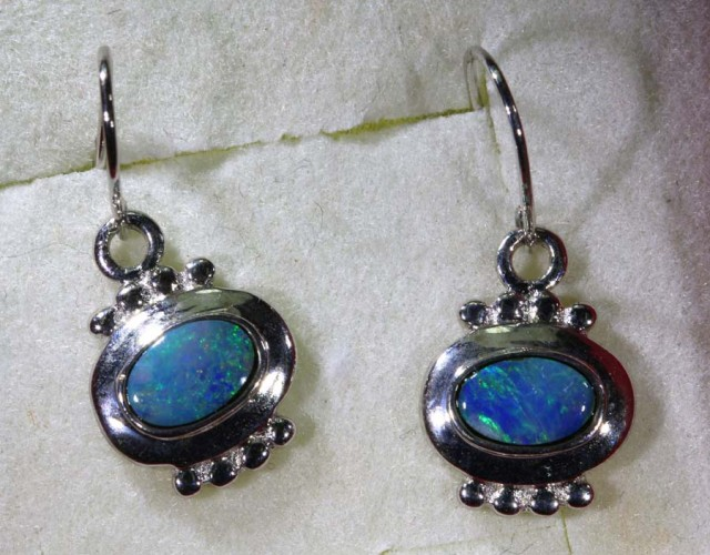 10.90 CTS DOUBLET OPAL SILVER EARRINGS OF-1415