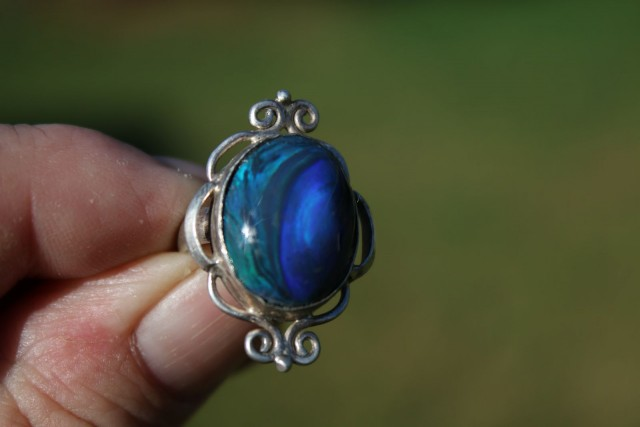 Beautiful Lightning Ridge Solid Black Opal Ring