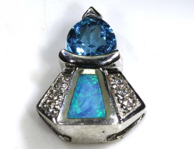 13 CTS SILVER DOUBLET OPAL PENDANT OF-1430