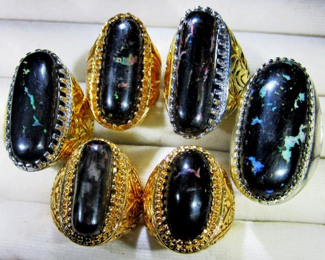INDONESIAN BLACK OPAL RINGS -DEALERS PARCEL [VS7190]