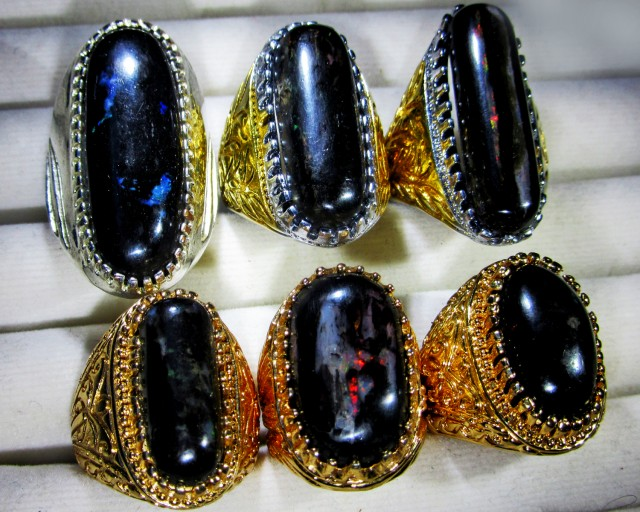 INDONESIAN BLACK OPAL RINGS -DEALERS PARCEL[VS7191]