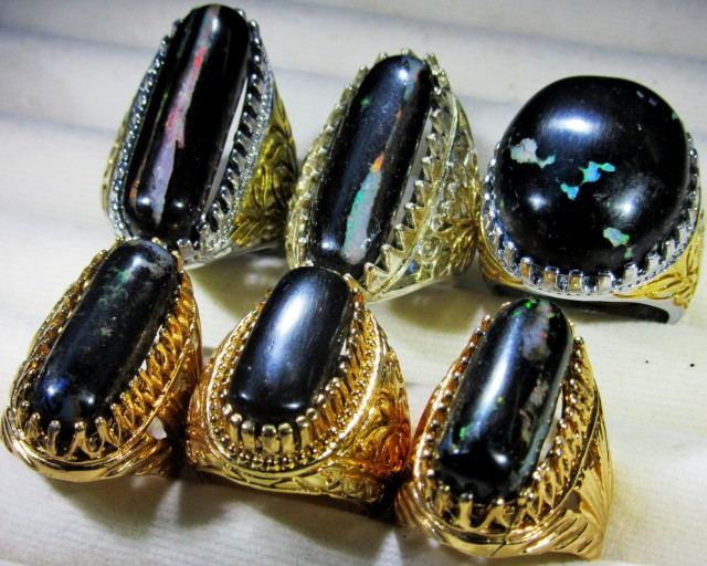 INDONESIAN BLACK OPAL RINGS -DEALERS PARCEL[VS7194]