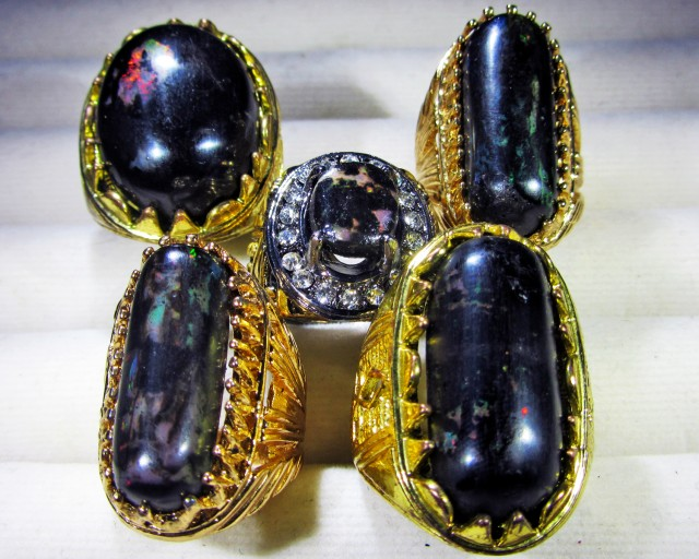 INDONESIAN BLACK OPAL RINGS -DEALERS PARCEL[VS7198]