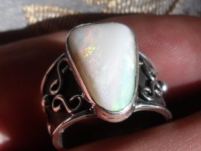 Bezel set Natural Solid opal gem taxco silver ring sz 6.75