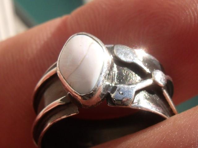 Bezel set Natural Solid opal gem taxco silver ring sz 5.5