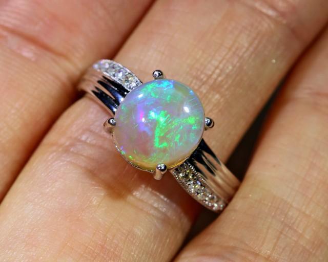 Gem crystal  Opal 18k White gold Ring  BU2005