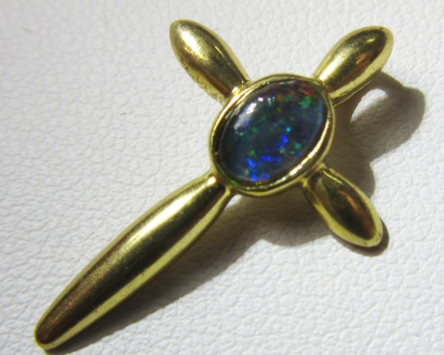 Cross gold plated with Triplet opal    Bu 2036