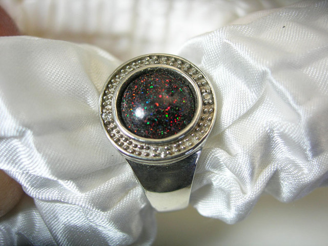 925 SILVER RING OPAL MATRIX Ring Size US7 #LMJ3