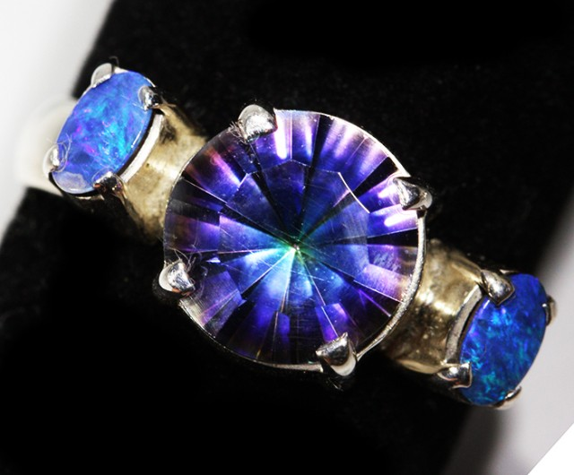 8 SIZE MYSTIC QUARTZ AND OPAL  DOUBLET RING [SJ3125 ]