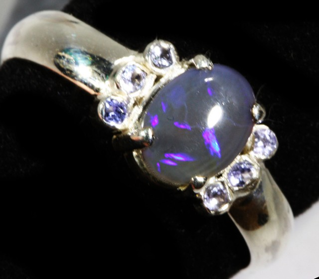 8.5 SIZE  SOLID OPAL AND 6 TANZANITES -FACTORY [SJ31 ]