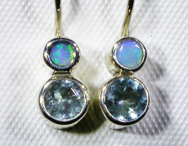 TOPAZ AND  SOLID OPAL EARRINGS -FACORY DIRECT [SJ3059]