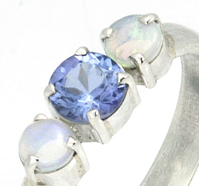 9.5 RING SIZE TANZANITE AND OPAL RING- [SJ4010 ]