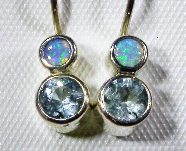 TOPAZ AND  SOLID OPAL EARRINGS -FACORY DIRECT [SJ3062]