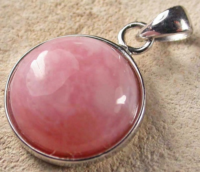 PINK OPAL SILVER  PENDANT-NATURAL -CAB  8.85 CTS [SJ942]
