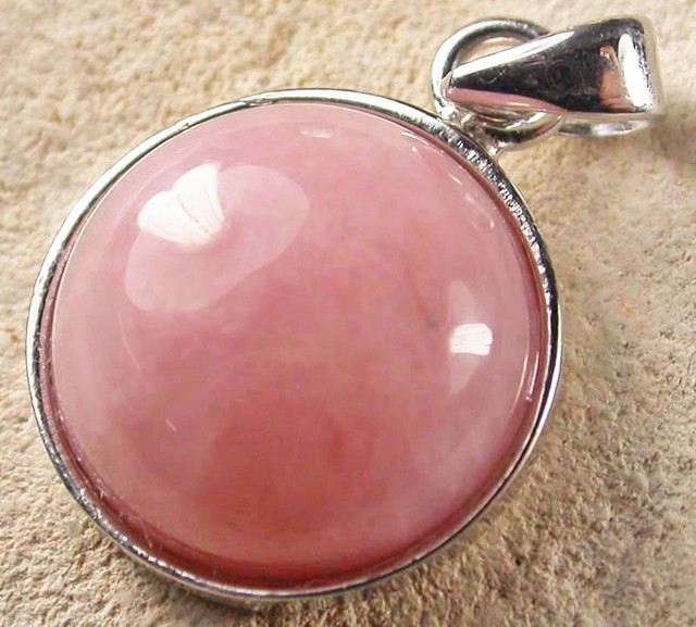 PINK OPAL SILVER  PENDANT-NATURAL -CAB 9.85 CTS [SJ946]