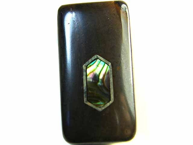 MOTHER PEARL INLAID  IRONSTONE BEAD 37.2CTS AG1994