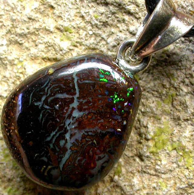 BOULDER OPAL  WITH SILVER BAIL AND STRAP 16.45 CTS [SJ140]