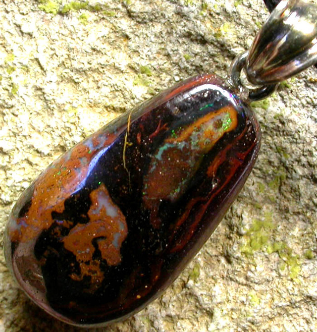 BOULDER OPAL  WITH SILVER BAIL AND STRAP 22.60 CTS [SJ141]