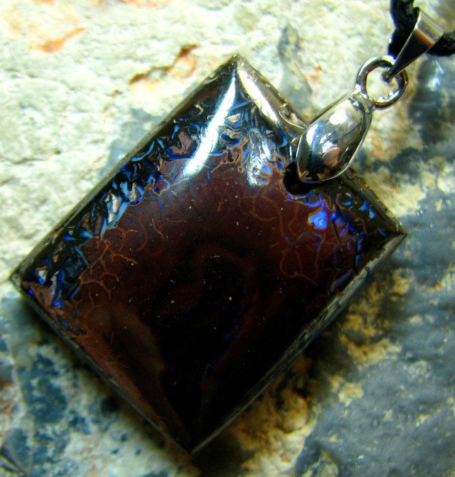 BOULDER OPAL PENDANT ON CORD READY TO WEAR 37.15 CTS