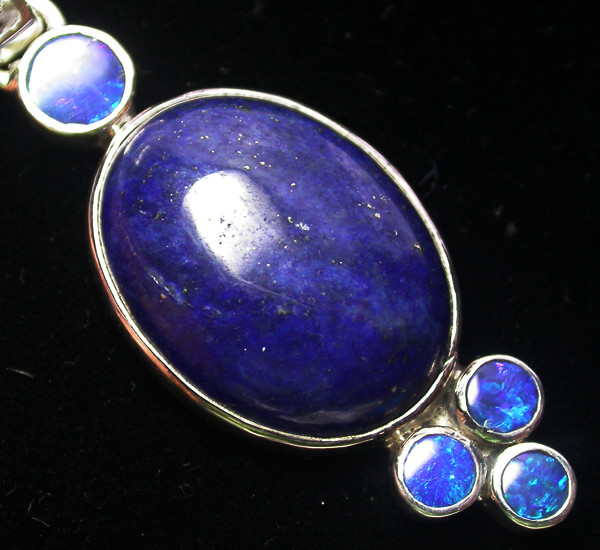 32.65 CTS LAPIS WITH OPAL  DOUBLET SILVER PENDANT [SJ2165]