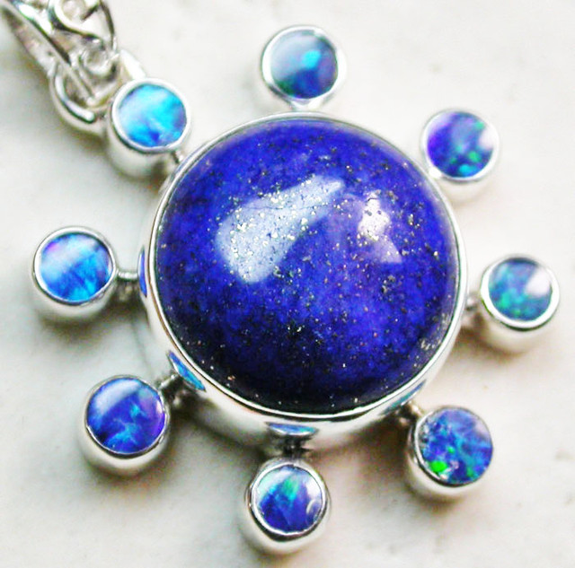 31.50 CTS LAPIS WITH OPAL  DOUBLET SILVER PENDANT [SJ2339]