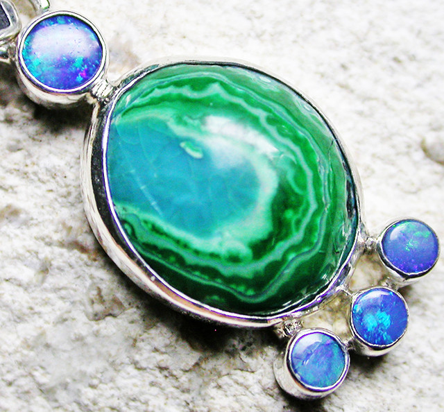 17.45 CTS MALACHITE PENDANT WITH OPALS-FACTORY DIRECT SJ2594