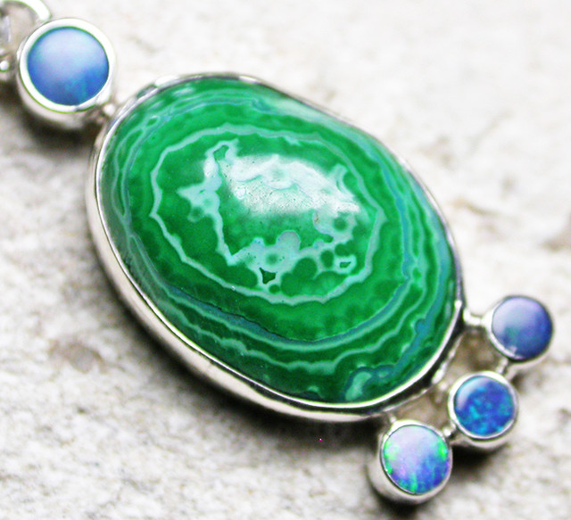 21.25 CTS MALACHITE PENDANT WITH OPALS-FACTORY DIRECT SJ2601