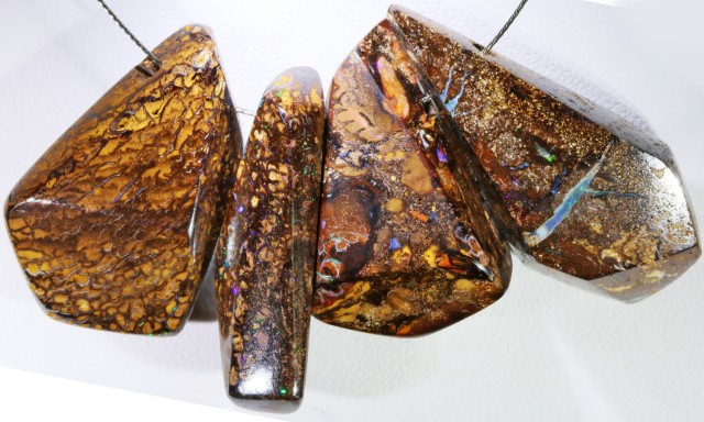 134.50 Cts  Four faceted Boulder Opal Beads  BU 2049