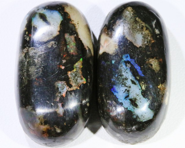 60.9 CTS PAIR  INDONESIAN WOOD FOSSIL STONES POLISHED [VS7223 ]