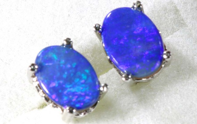 6 CTS DOUBLET OPAL SILVER EARRINGS OF-1491