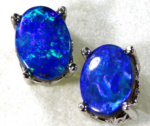 6 CTS DOUBLET OPAL SILVER EARRINGS OF-1495