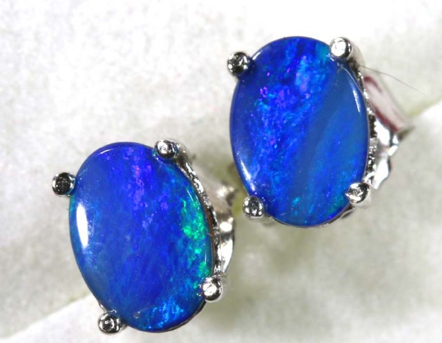 6 CTS DOUBLET OPAL SILVER EARRINGS OF-1499
