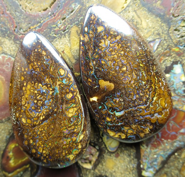 99cts.GEM BOULDER MATRIX OPAL PAIR,