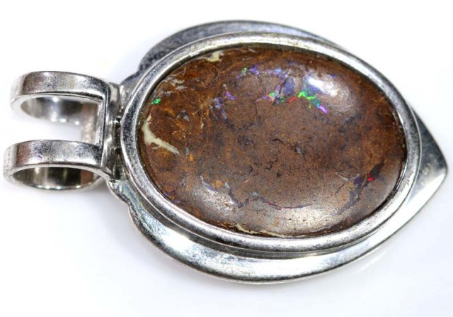 BOULDER OPAL PENDANT WITH SILVER BALE  56.40 CTS OF-1533