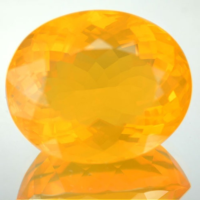 11.12 Cts Natural Orange Mexican Fire Opal Oval Faceted