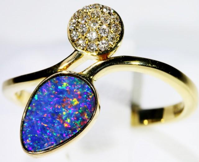 Gem Opal Doublet Ring in 14K Gold SB 262