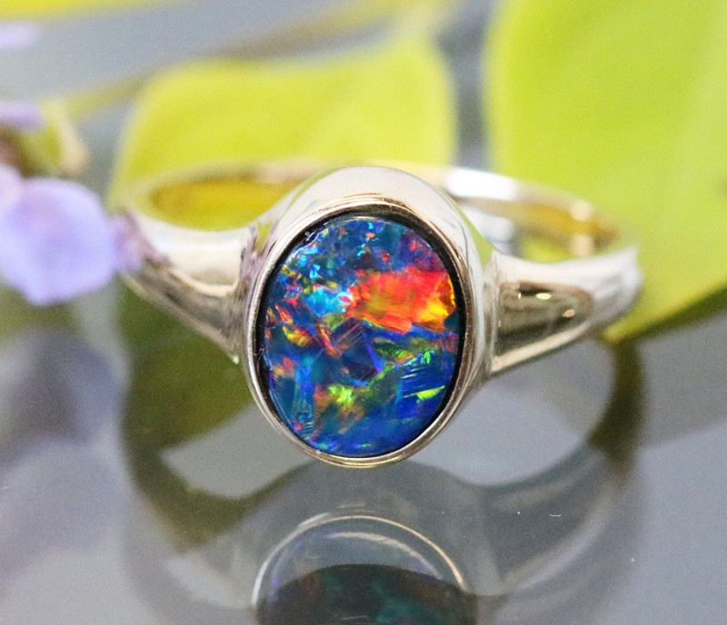 Gem Opal Doublet Ring in 14K Gold SB 264