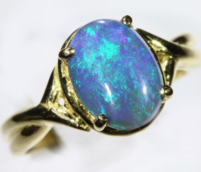 Gem Solid Black Opal Ring in 18K Gold SB 267