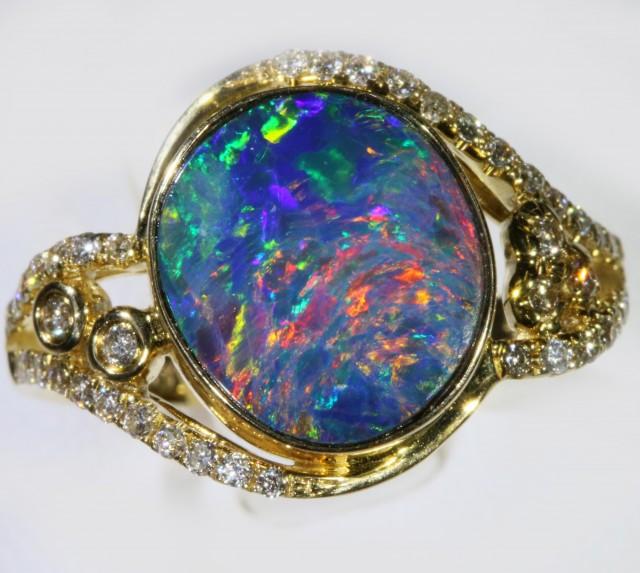 Gem Opal Doublet Ring in 14K Gold SB 282