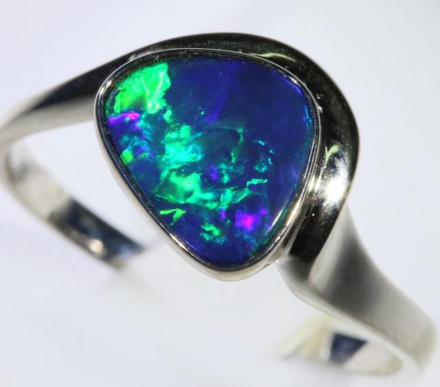 Gem Opal Doublet Ring in 14K  White Gold SB 288
