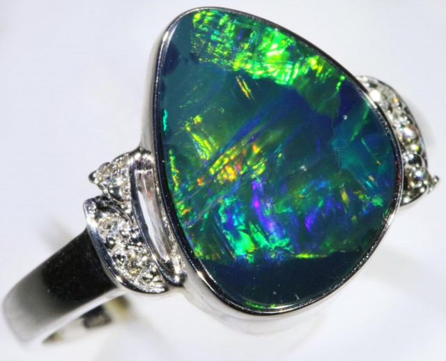 Gem Opal Doublet Ring in 14K White Gold SB 292